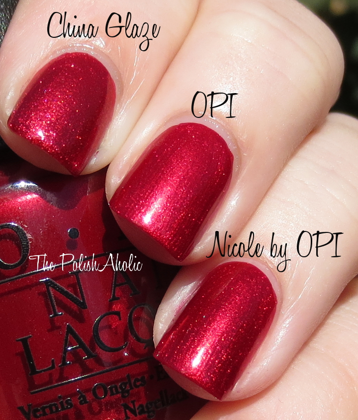Opi In My Santa Suit Vs A Ruby For Rudolph An Affair Red Square These 3 Are Not Dupes Despite The Photo Kind Of Leading You To Believe