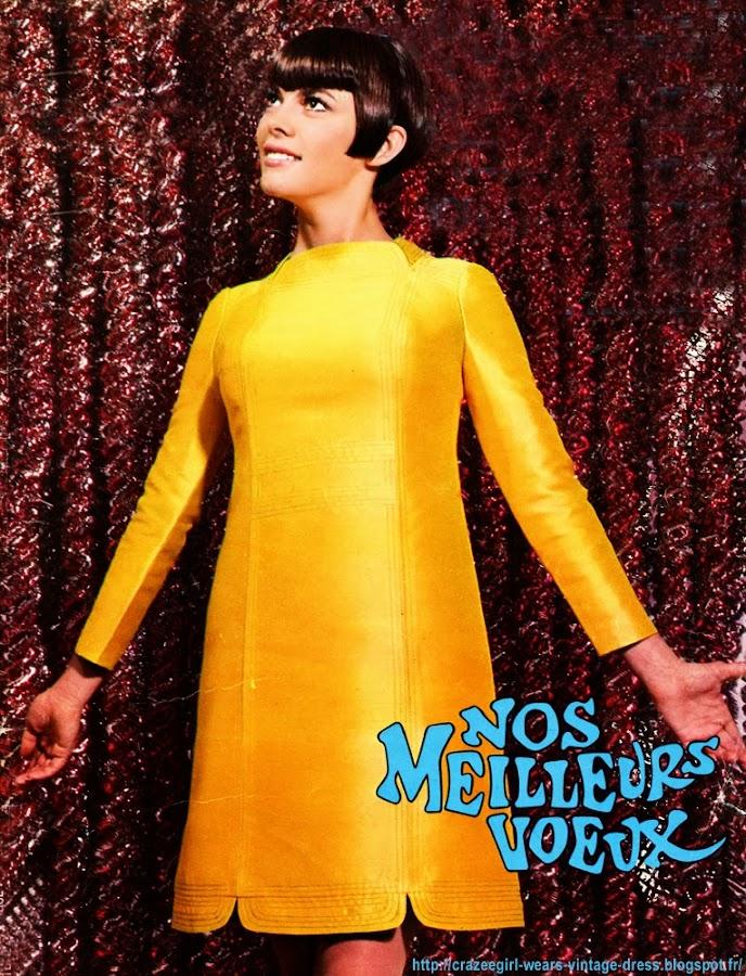 Mireille Mathieu dans une robe de Louis Feraud , coiffée par El Rhodes et maquillée par Guerlain .1967 vintage retro sixties années 60 60s 1960s 60's 1960's mode fashion mods yeye