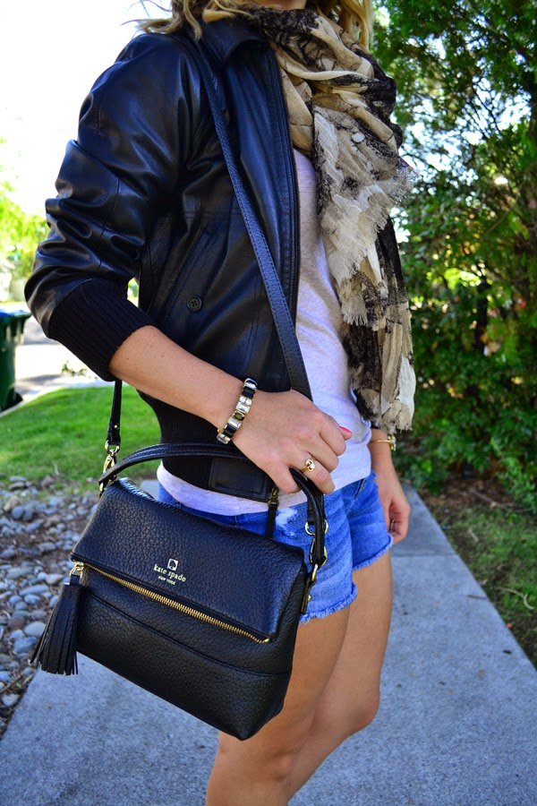 kate spade purse, leather jacket, scarf, fashion blog