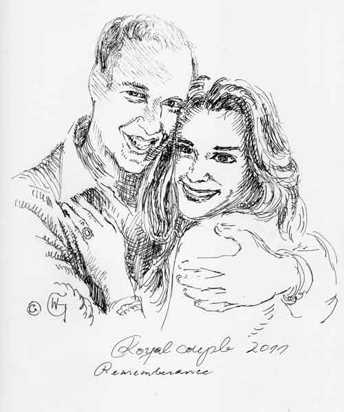 prince william, kate middleton, marriage, royals, queen, princess, Prinz William, Hochzeit, zeichnung, drawing, pendrawing, ink, tusche, by wolfgang glechner