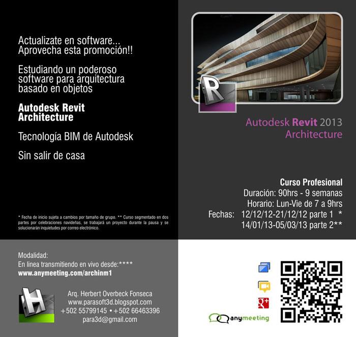 Curso autodesk revit 2013 herramientas de arquitectura for Curso arquitectura software