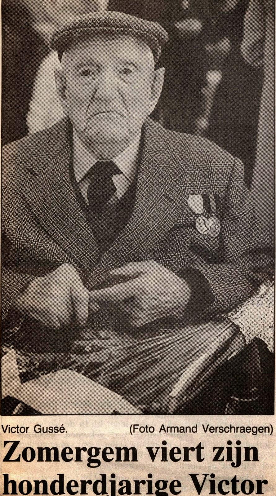 Oud-strijder Victor Gussé 1891-1991. Krantenartikel met onbekende oorsprong.