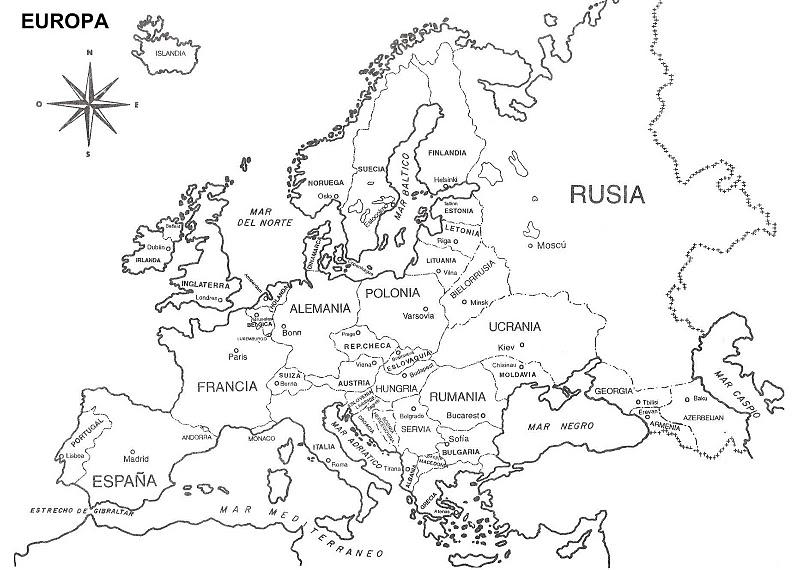 MAPA POLITICO EUROPA BLANCO Y NEGRO - Imagui