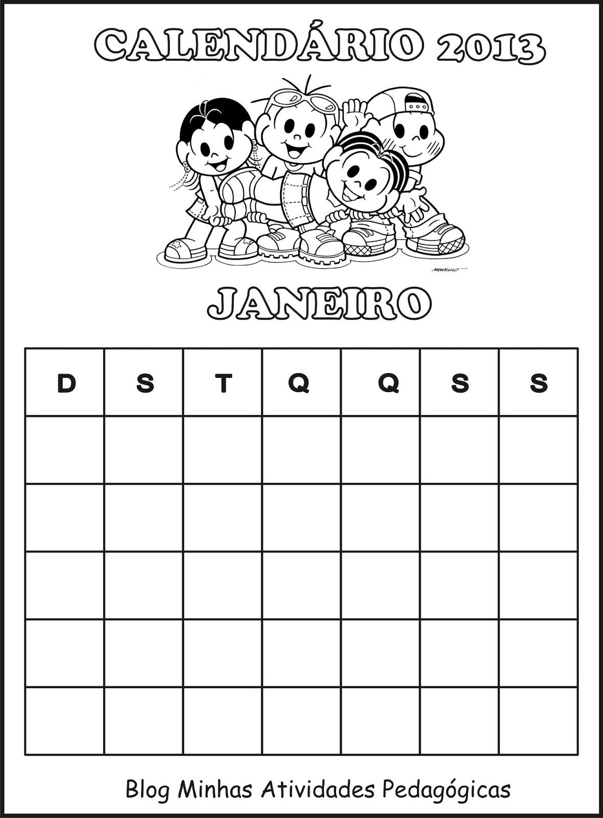 Atividade Pedagógica com Calendário 2013 - Turma da Mônica