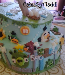 Cake, Kids cake, 4th birthday, boy cake, angry birds, pigs
