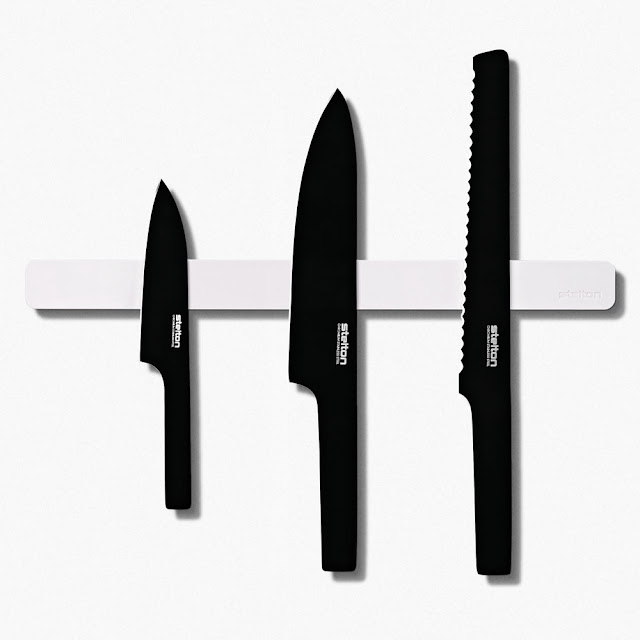 stelton black knife set magnet magnetic holder modern