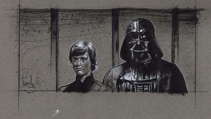 Luke Skywaler and Darth Vader, Original Artwork, Copyright © 2014 Jeff Lafferty