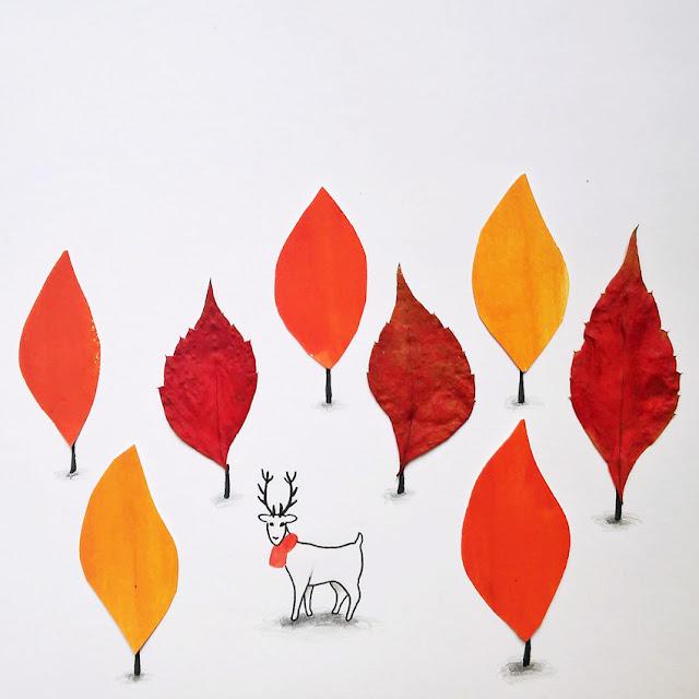 Bosque de hojas secas de otoño con ciervo