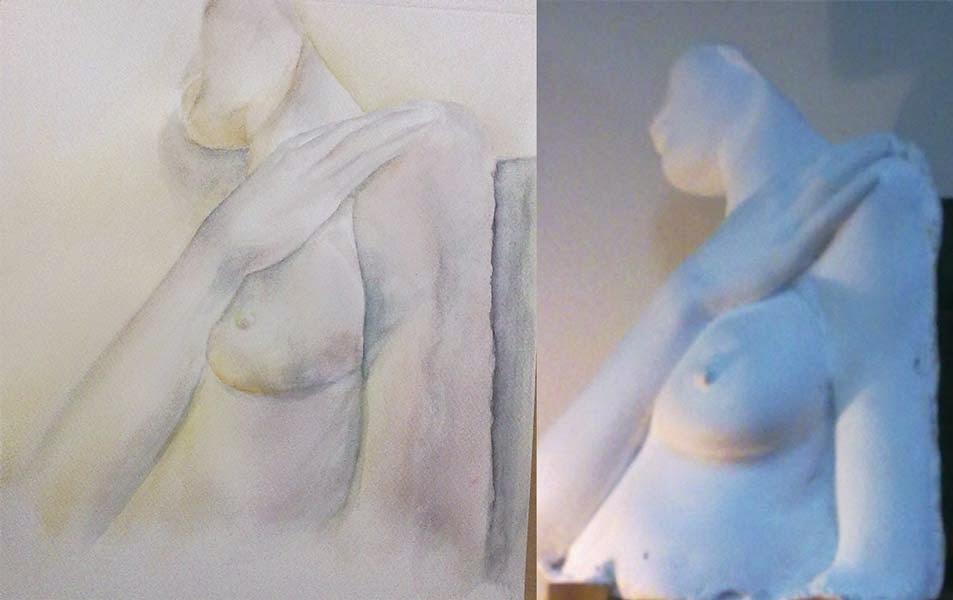 torso femenino de escayola en acuarela