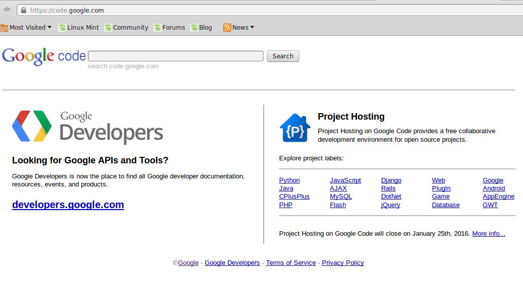 google code di tutup