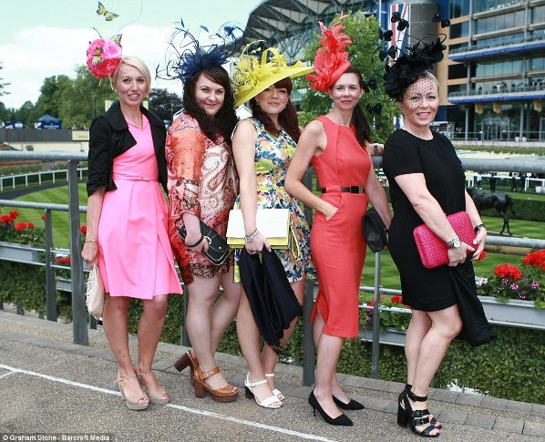colorful group of stylish racegoers on day 1 at Royal Ascot 2014