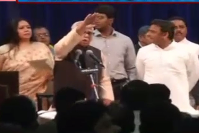 A police band started playing National Anthem after Naik administered oath to the new ministers of Akhilesh Yadav government. To the surprise of everyone on the stage, Naik spoke into the mike asking the band to stop playing the National Anthem.  The band, which had already begun playing Jana Gana Mana, stopped it after the first stanza.