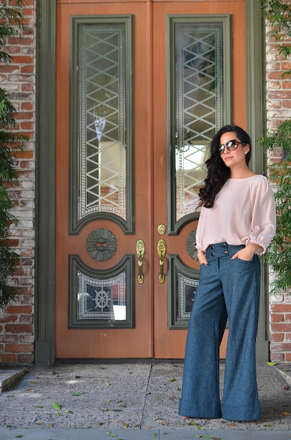 rose quartz piace blouse wool serenity wide-leg Express trousers gucci sunglasses saint laurent heels