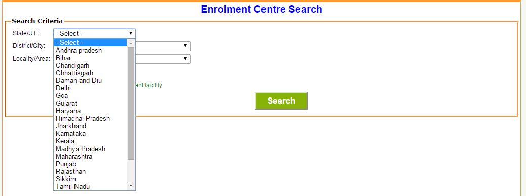 step2: Find Aadhaar card Enrollment Center image2