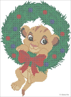 Free cross-stitch patterns, Simba, Christmas, The Lion King, lion, animal, Disney, cartoon,  cross-stitch, back stitch, cross-stitch scheme, free pattern, x-stitchmagic.blogspot.it, вышивка крестиком, бесплатная схема, punto croce, schemi punto croce gratis, DMC, blocks, symbols