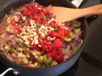 SImmering the vegetables -- before adding the eggplant for Caponata