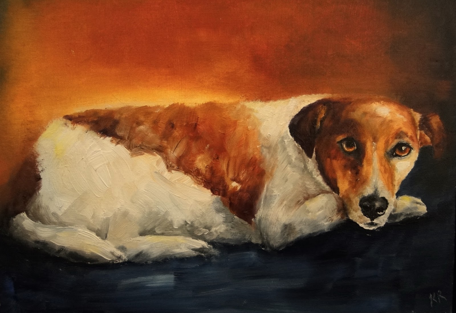 Ratting in the barn, oil painting of a JRT, a pet portrait, dog painting, animal artist, Karen Robinson
