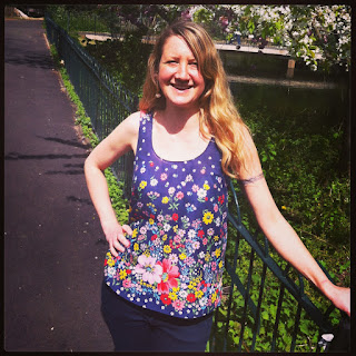 Wearing my new Grainline Tiny Pocket Tank