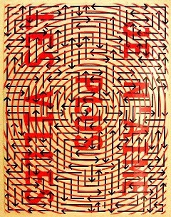Painting of labyrinth of arrows on concentric circles