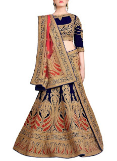 Blue Pure Velvet Blouse Lehenga | Bridal Red Hand-Woven Raw Silk Bridal Lehenga