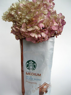 vase made from coffee bean bag