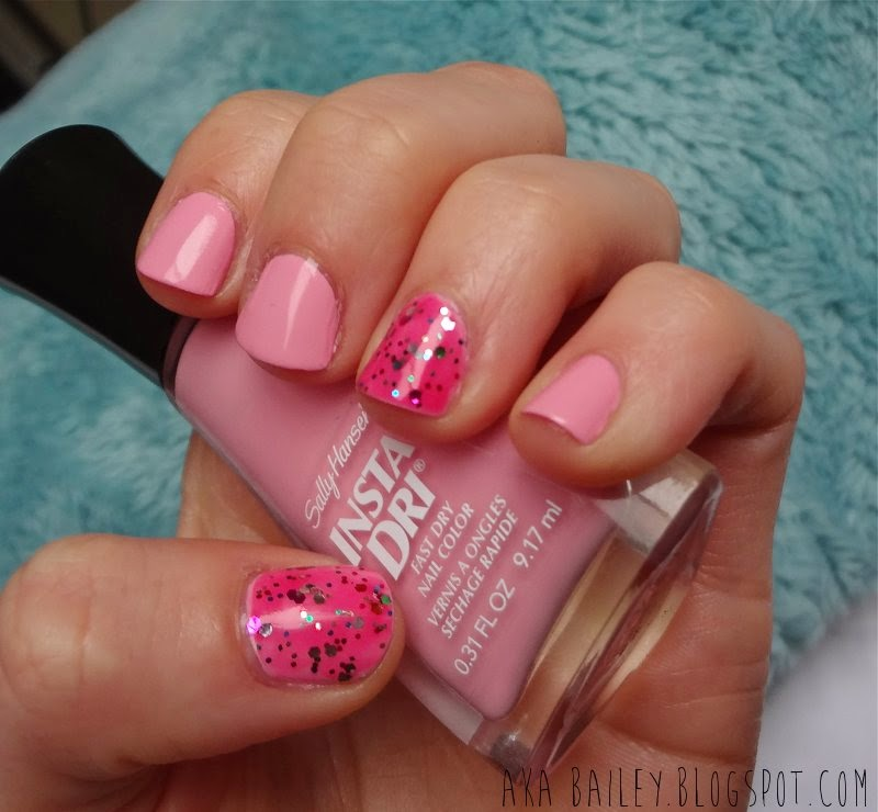 Pink and glittery nails