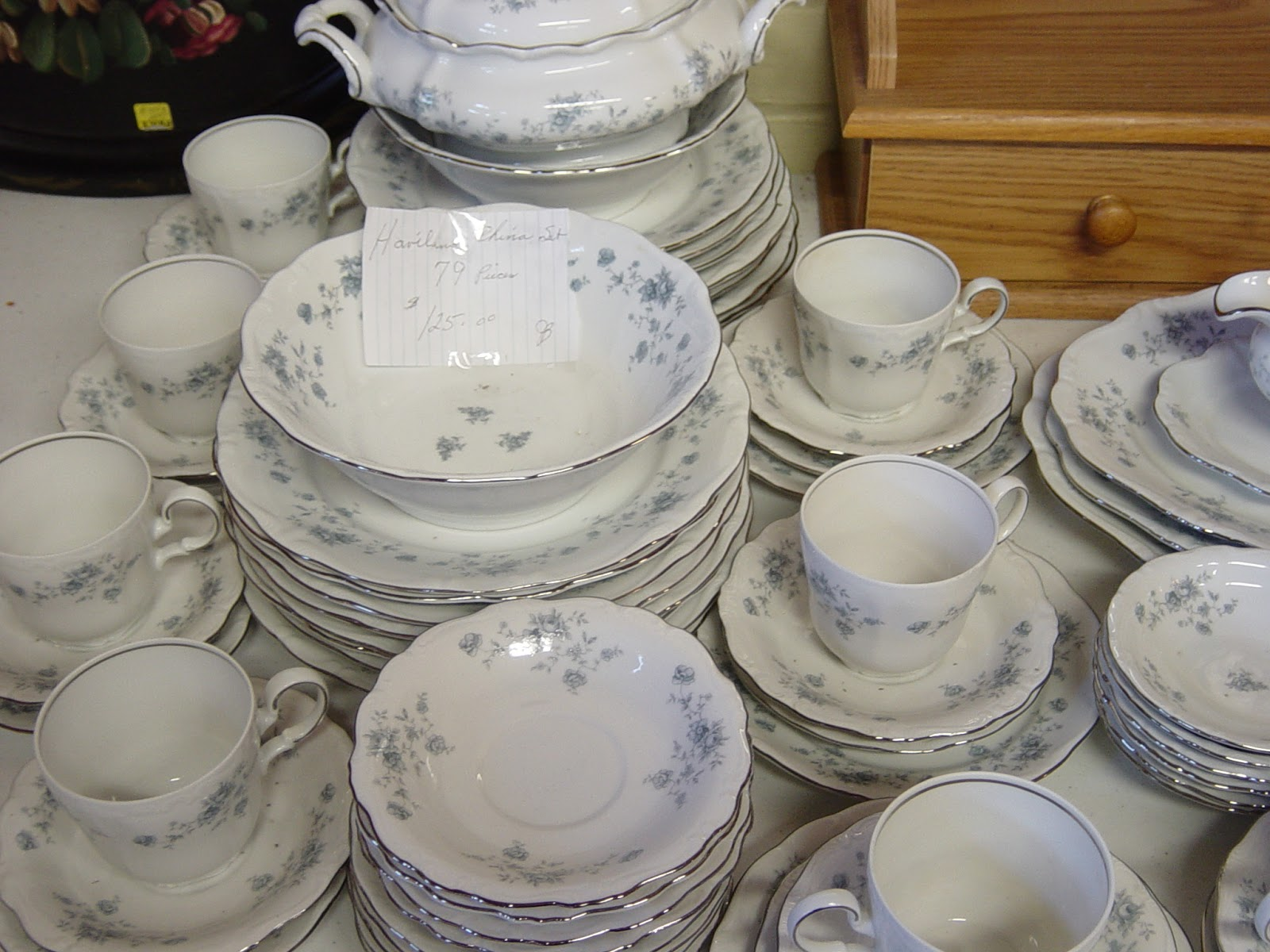 This set was more economical...7O some pieces for 75 dollars. Very pale blue flowers on them trimmed in silver. I swear if I had the room for these ... & SheJunks: Dish Sets....