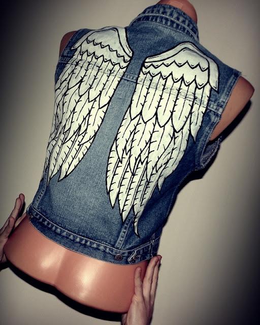 diy kamizelka skrzydła kolce jeans malowane moda