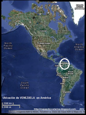 Ubicación de VENEZUELA en América, Vista Satelital