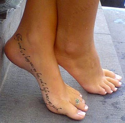 Adorable quote tattoo on feet