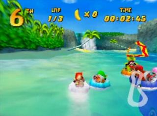 Racing on water in Nintendo 64 game Diddy Kong Racing
