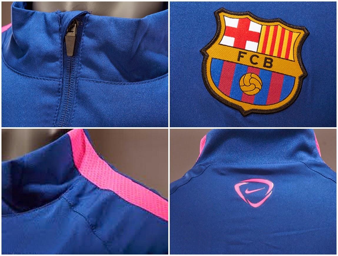 Detail Jaket Training Barcelona Nike Terbaru 2014-2015 Blue Pink