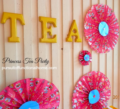 Princess Tea Party Ideas, decorations, fan paper decorations, TEA letters
