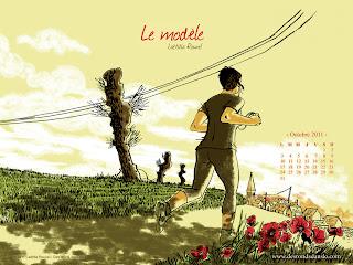 Les 4 fonds d'écran d'octobre 2011 des éditions Des ronds dans l'O : Le modèle de Laëtitia Rouxel (sept. 2011)