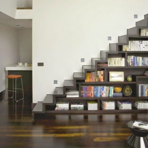 Awesome Modern Bookcase For House Improvement : ... Twist on traditional reading corner, perfect for modern condo space