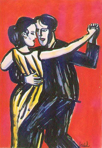 illustration by french illustrator Loustal of a couple dancing