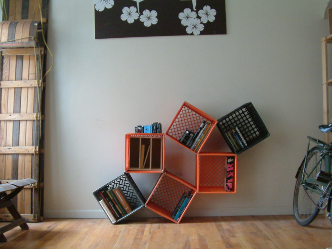 How to recycle recycling plastic milk crates for Shelves made out of crates