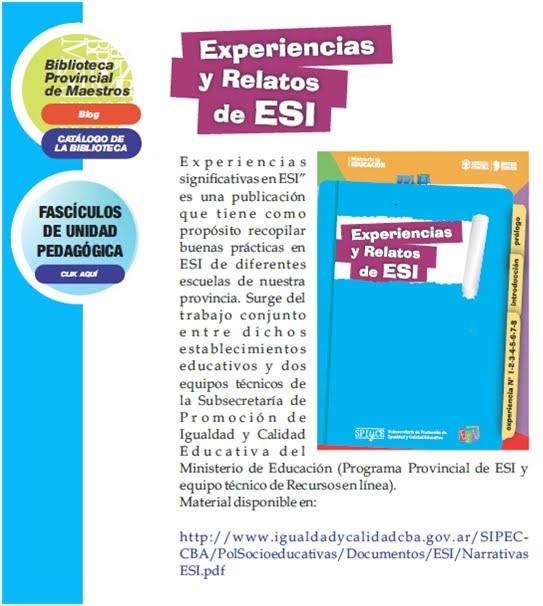 EXPERIENCIAS Y RELATOS DE ESI