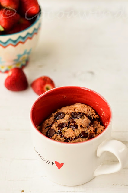 2-minute Eggless Peanut Butter Chocolate Chip Mug Cake