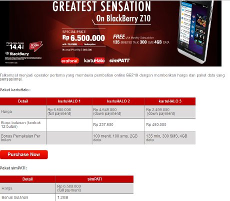 Harga Bundling Blackberry Z10 Telkomsel