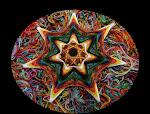 Ojo de Poeta. Centro en negro infinito  con  fondo en la multiplicidad y color del hilo sin orden.