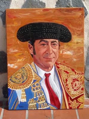 Geschilderd portret van Luis Francisco Esplá, stierenvechter in ruste