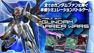 Screenshots of the Gundam: Area Wars for Android tablet, phone.