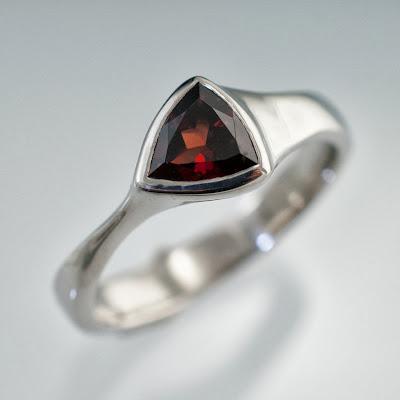 trillion garnet ring in palladium