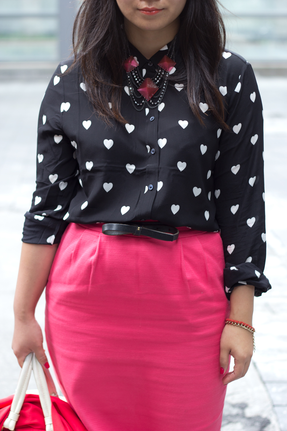 business-casual, banana-republic-pencil-skirt, Joe-Fresh-heart-print-blouse