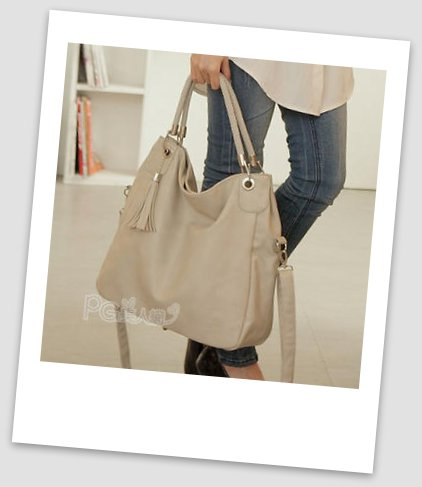 Faux-Leather Tasseled Tote