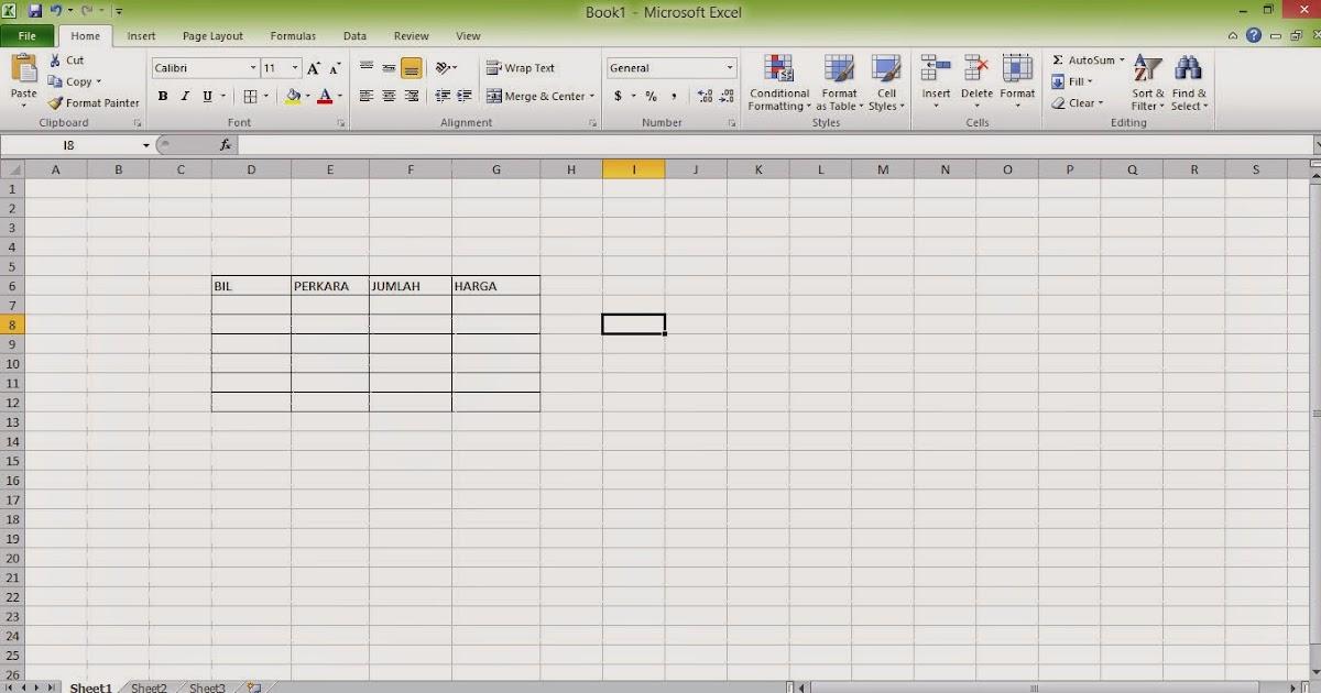 cara buat table excel dalam blog atau laman web kursus