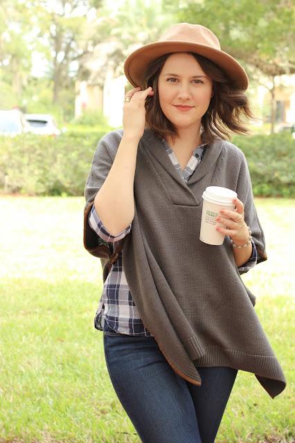 fall/autumn look: tjmaxx poncho, loft plaid blouse, denim, floppy hat, perfect for fall, cozy
