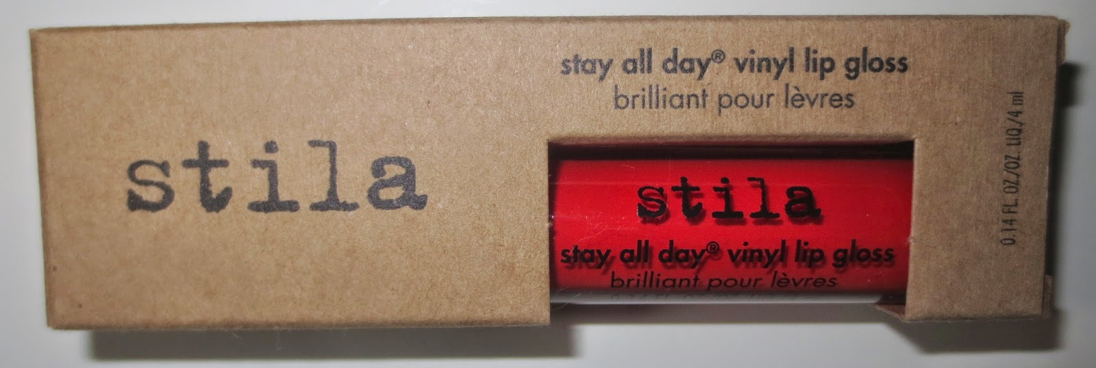 Stila Stay All Day Vinyl Lip Gloss in Poppy Vinyl Packaging