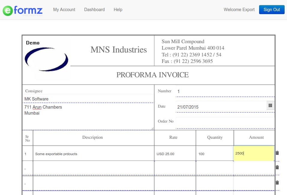 proforma invoice | online proforma invoicing template | e-formz, Invoice examples